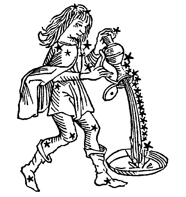 Aquarius - Water-Bearer. Illustration from a 1482 edition of Poeticon Astronomicon, attributed to Hyginus.
