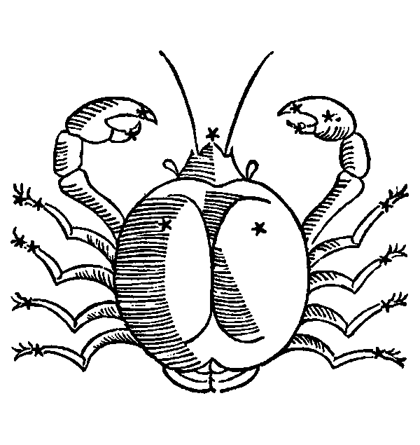 Cancer - Crab. Illustration from a 1482 edition of Poeticon Astronomicon, attributed to Hyginus.