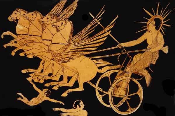 Helios, the Greek sun god. Athenian red-figure krater, 5th century BC.