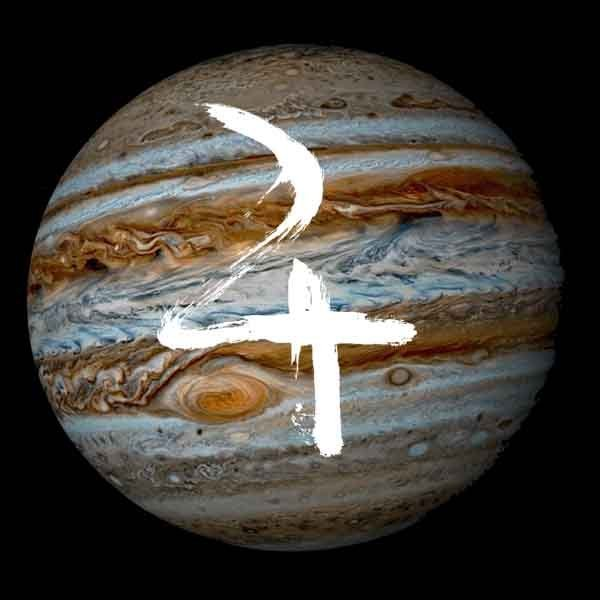 Jupiter and its glyph.