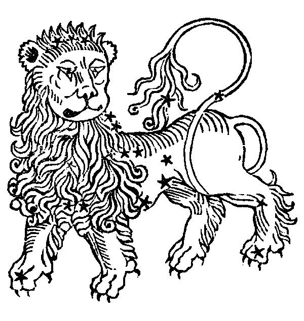 Leo - Lion, illustration from a 1482 edition of a book by Hyginus.