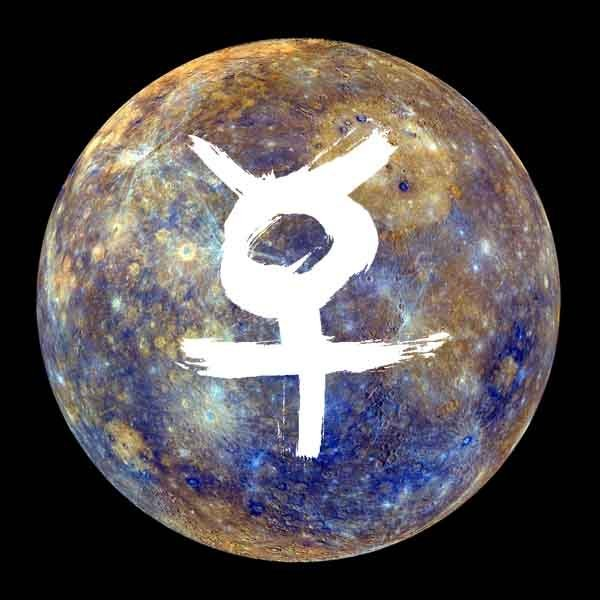 Mercury and its glyph.