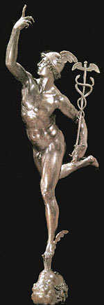 Mercury, the Roman messenger god. His Greek name was Hermes.