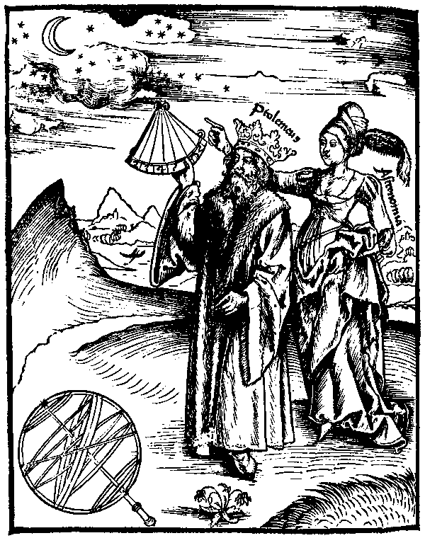 Ptolemy, in Margarita Philosophica by Gregor Reisch, 1503.