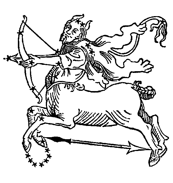 Sagittarius - Archer. Illustration from a 1482 edition of Poeticon Astronomicon, attributed to Hyginus.