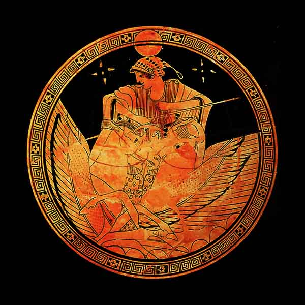 Selene, the Greek moon goddess. Her Roman name was Luna. Athenian red-figure kylix from the 5th Century BC.