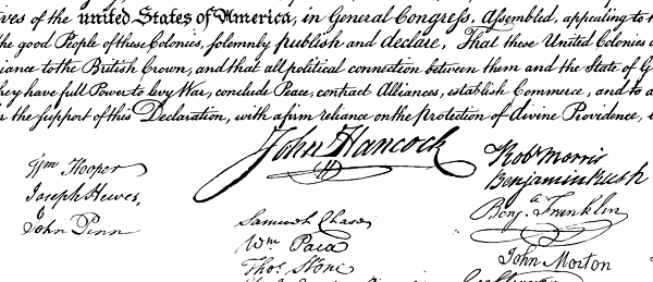 Detail, Declaration of Independence.