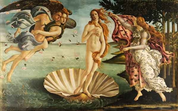The birth of Venus. Painting by Botticelli, c. 1486.