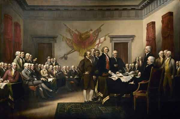 Congress discussion of the Declaration of Independence. Oil painting by John Trumbull, 1819.