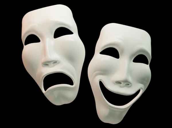 Character types in drama. Theater masks.