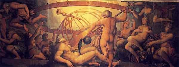 The castration of the god Uranus by his son Saturn. Painting by Giorgio Vasari and Gherardi Christofano, c. 1560.